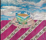 Cup with a Desert Landscape on a Snake Table Cloth